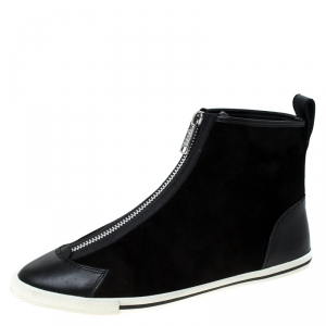 Marc by Marc Jacobs Black Suede Zip Front High Top Sneakers Size 38