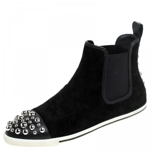 Marc by Marc Jacobs Black Suede Graham Studded Sneakers Size 38