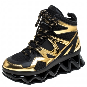 Marc by Marc Jacobs Black/Gold Leather And Mesh Spring Platform High Top Sneakers Size 37