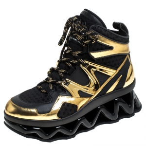 Marc by Marc Jacobs Black/Gold Leather And Mesh Spring Platform High Top Sneakers Size 39