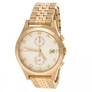 Marc by Marc Jacobs Silver Gold Plated Steel Fergus Chronograph MBM3379 Women's Wristwatch 38 mm