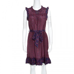 Marc by Marc Jacobs Multicolor Printed Silk Ruffled Trim Belted Dress XS - used