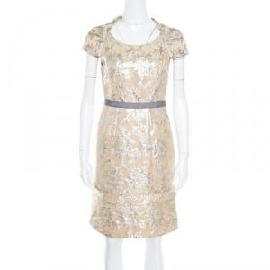 Marc By Marc Jacobs Beige Floral Lurex Jacquard Contrast Waistband Cap Sleeve Dress S - used