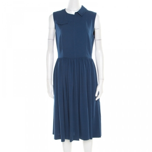 Marc by Marc Jacobs Deep Blue Half Collar Detail Crepe Yumi Dress S - used