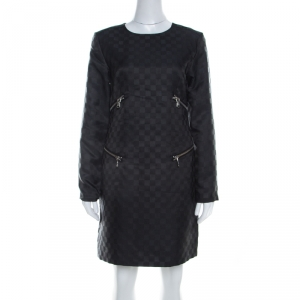 Marc by Marc Jacobs Dress Black Textured Check Twill Zipper Detail Shift Dress S - used