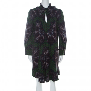 Marc by Marc Jacobs Green Wool & Silk Blend Peacock Paisley Print Short Dress L - used