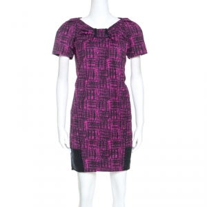 Marc By Marc Jacobs Magenta Printed Cotton Blend Canvas Dress S - used