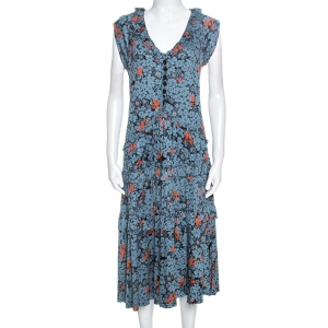 Marc by Marc Jacobs Teal Blue Floral Printed Modal Ruffle Detail Dress L - used