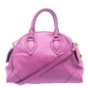 Marc by Marc Jacobs Purple Ostrich Embossed Leather Ozzie Square Baby Aiden Satchel