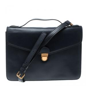Marc by Marc Jacobs Navy Blue Leather Chicret Top Handle Satchel