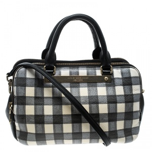 Marc by Marc Jacobs Black/White Check Leather Satchel