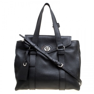 Marc by Marc Jacobs Black Leather Turnlock Bowler Bag