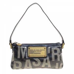 Marc by Marc Jacobs Blue Coated Canvas and Leather Pouch