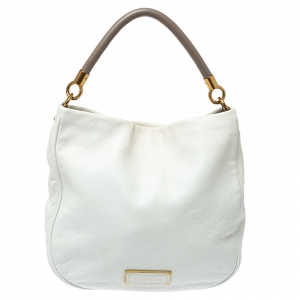 Marc by Marc Jacobs White Soft Grained Leather Too Hot to Handle Hobo