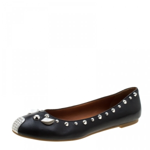 Marc by Marc Jacobs Black Leather Spike Trim Mouse Ballet Flats Size 38 - used