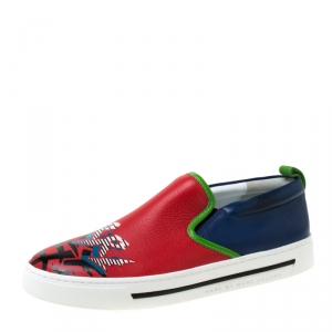Marc by Marc Jacobs Multicolor Printed Leather Slip On Sneakers Size 38