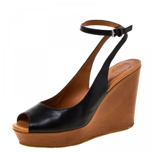 Marc by Marc Jacobs Black Leather Peep Toe Wedge Sandals Size 40 - used