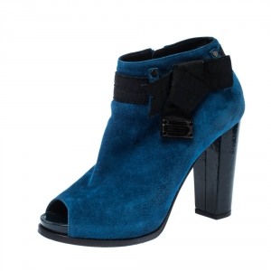 Marc By Marc Jacobs Blue/Black Suede Bow Detail Peep Toe Booties Size 37.5