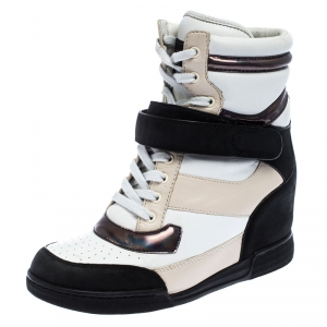 Marc by Marc Jacobs Tri Color Leather Lace Up Wedge Sneakers Size 38