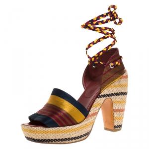 Marc By Marc Jacobs Multicolor Fabric Platform Ankle Wrap Sandals 39