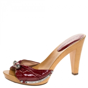 Marc By Marc Jacobs Red Patent Leather Slide Clog Sandals Size 39