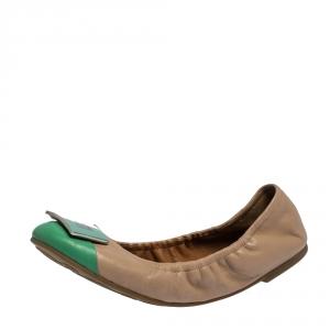 Marc by Marc Jacobs Beige/Mint Green Leather Logo Plague Scrunch Ballet Flats Size 37