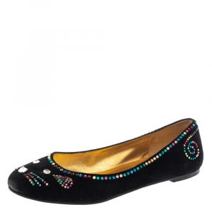 Marc by Marc Jacobs Black Suede Crystal Embellshed Ballet Flats Size 40.5 - used