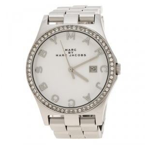 Marc By Marc Jacobs White Stainless Steel Crystal MBM3044 Women's Wristwatch 38 mm