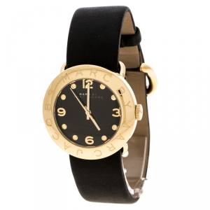 Marc by Marc Jacobs Black Yellow Gold-Plated Stainless Steel Amy MBM1154 Women's Wristwatch 36 mm