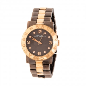 Marc by Marc Jacobs Brown Two-Tone Stainless Steel MBM3195 Women's Wristwatch 36 mm