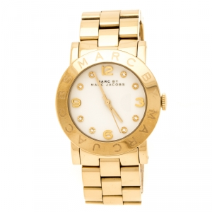 Marc by Marc Jacobs White Yellow Gold Plated Stainless Steel Amy MBM3056 Women's Wristwatch 36 mm