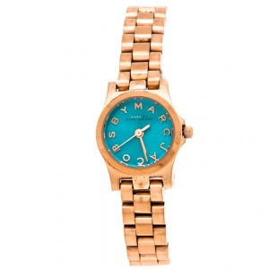 Marc by Marc Jacobs Blue Rose Gold Plated Stainless Steel Henry Dinky MBM3328 Women's Wristwatch 20 mm