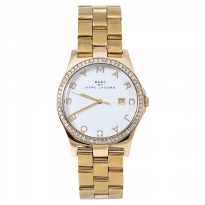 Marc by Marc Jacobs White Gold PVD Coated Stainless Steel MBM3315 Henry Women's Wristwatch 40 MM