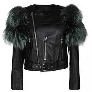 Marc Jacobs Black Goat Leather Fox Fur Trim Embellished Moto Jacket S