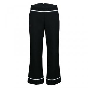 Marc Jacobs Black Doublefaced Wool Contrast Grosgrain Trim Ankle Pants M
