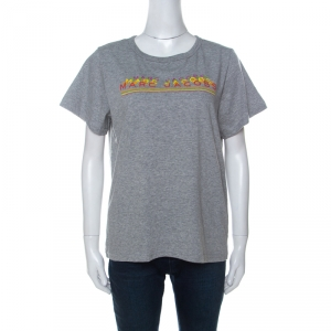 Marc Jacobs Grey Cotton Repeated Logo Print T Shirt L