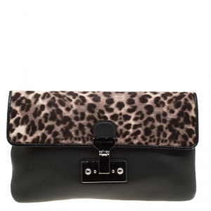 Marc Jacobs Black/Beige Leopard Print Calfhair and Leather Safari Vip Clutch
