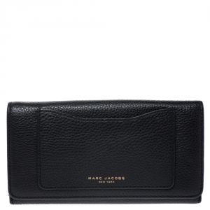 Marc Jacobs Black Leather Continental Flap Wallet