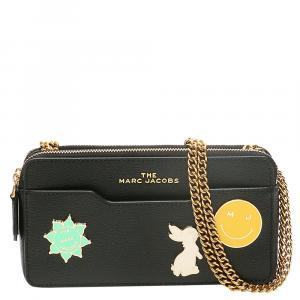Marc Jacobs Black Leather Logo Charm Chain Mini Bag