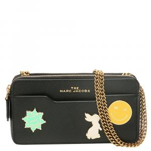 Marc Jacobs Black Leather Logo Charm Chain Mini Bag