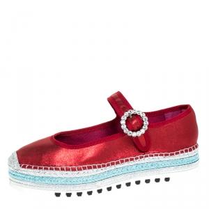 Marc Jacobs Metallic Red Nubuck Suzi Crystal Embellished Brooch Mary Jane Espadrille Platforms Size 39