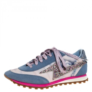 Marc Jacobs Multicolor Suede And Fabric Astor Lightning Bolt Low Top Sneakers Size 37