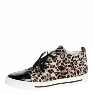 Marc Jacobs Beige/Black Leopard Print Pony Hair And Patent Leather High Top Sneakers Size 40 -