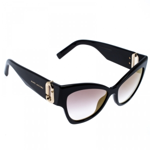 Marc Jacobs Black/Pale Gold Mirrored 109/S Cat Eye Sunglasses
