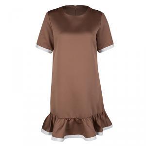 Marc Jacobs Brown Short Sleeve Ruffle Bottom Dress S
