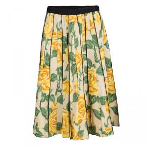 Marc Jacobs Beige Floral Print Pleated Midi Skirt XS