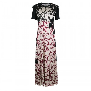 Marc Jacobs Leaf Printed Embroidered Short Sleeve Maxi Dress M