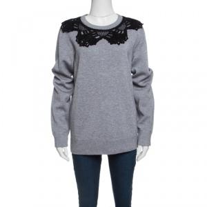 Marc Jacobs Grey Contrast Crochet Collar Detail Sweatshirt S