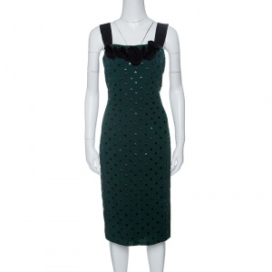 Marc Jacobs Green and Black Polka Dotted Sleeveless Dress S - used