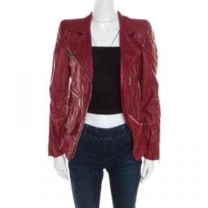 Marc Jacobs Brick Red Leather Quilted Shoulder Biker Jacket S